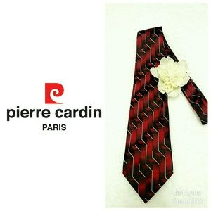 Pierre Cardin 💯% Silk Burgandy Patterned Tie